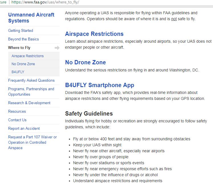 faa rules on flying drones screenshot