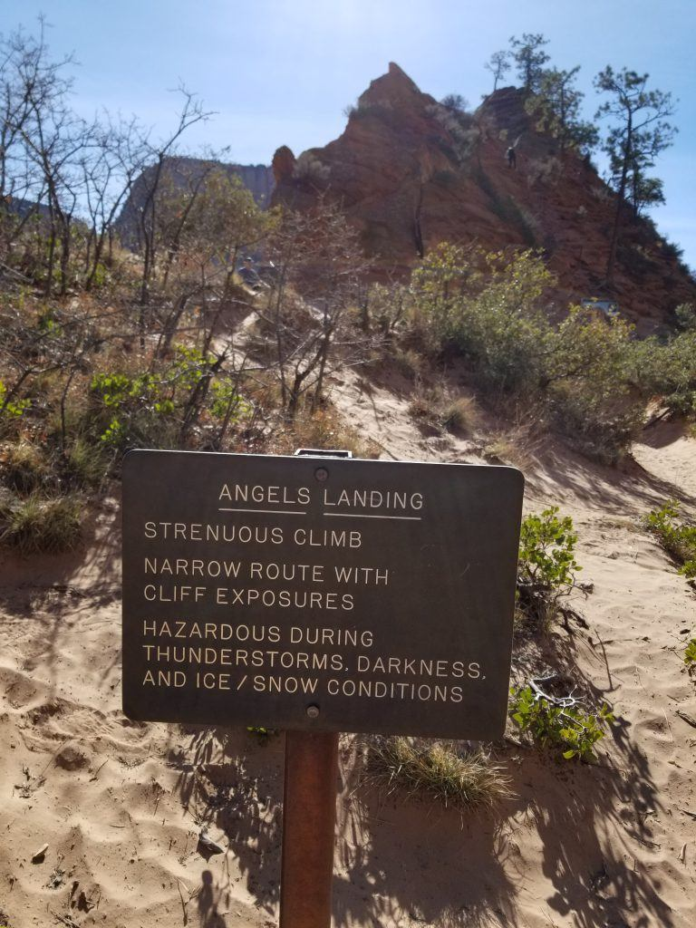 angels landing warning sign