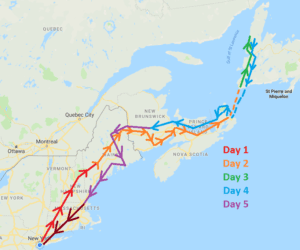 5 day east coast road trip