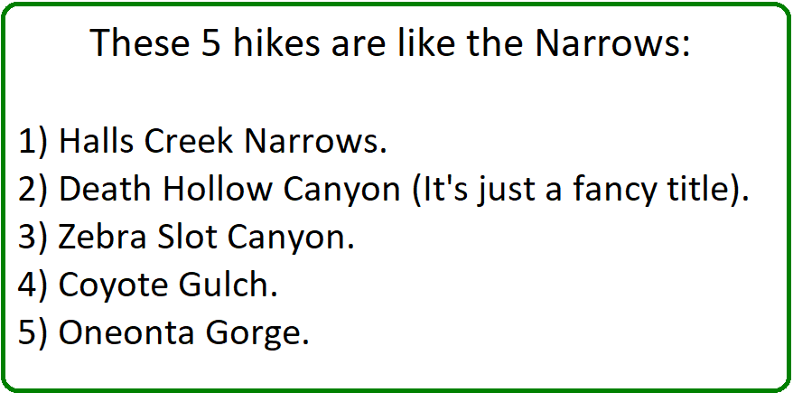 5 hikes and places like the narrows