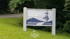 blue ridge parkway sign on the appalachian mountains