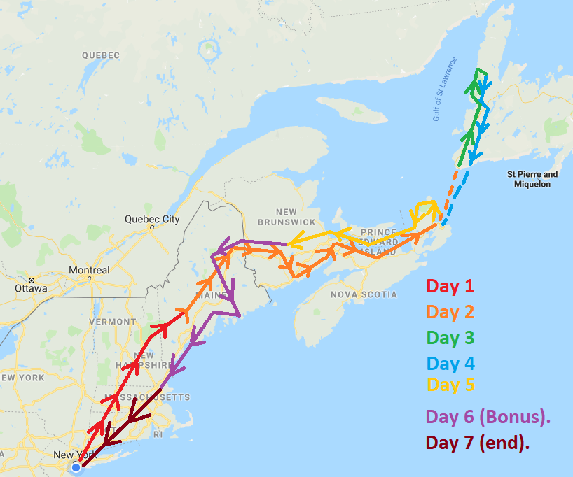 eastern canada road trip map
