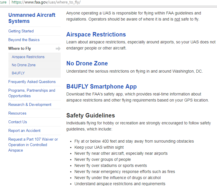 faa drone rules for pilots screenshot