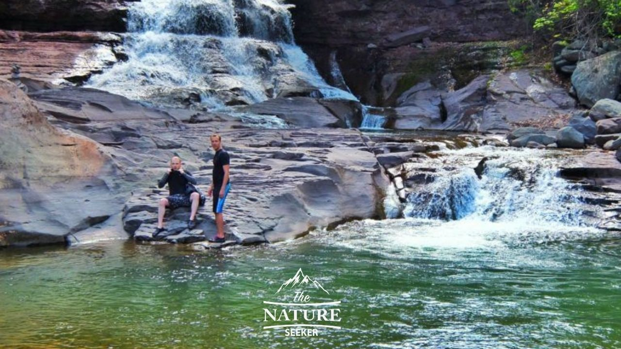 hidden waterfall hike in the catskill mountains