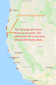 my west coast trip map