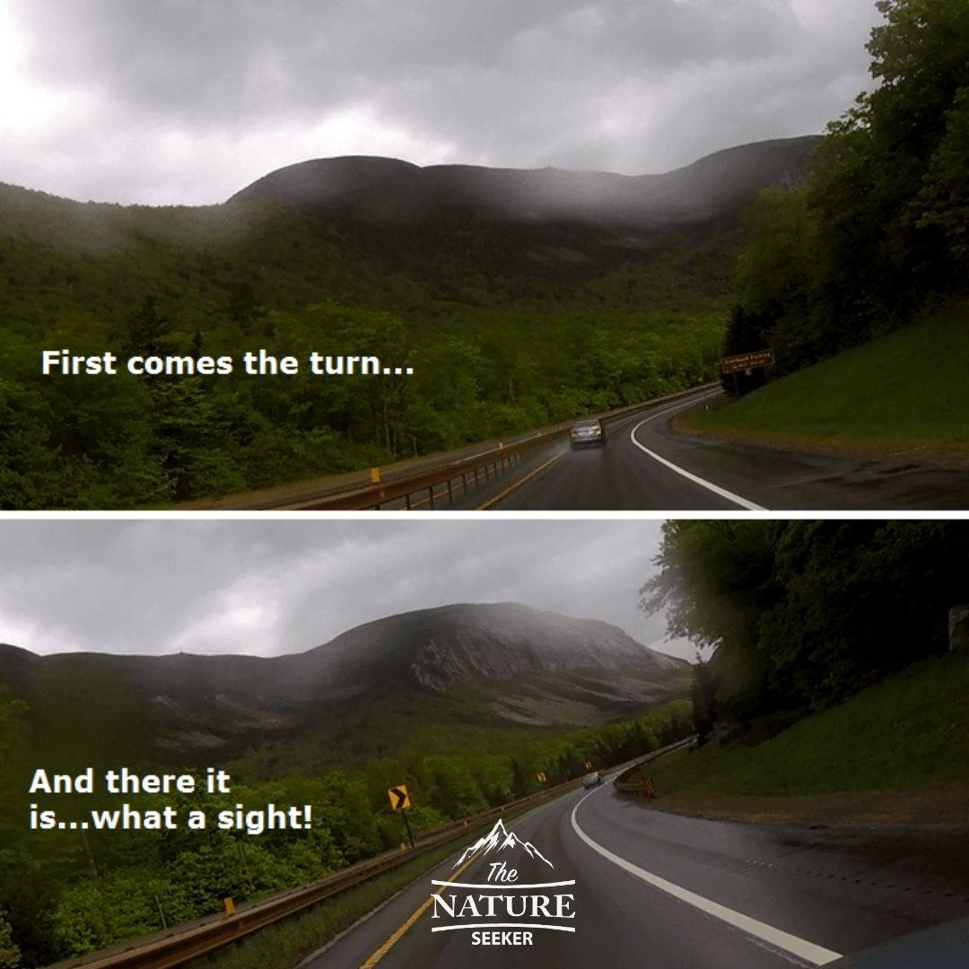 scenic drive towards cannon mountain nh