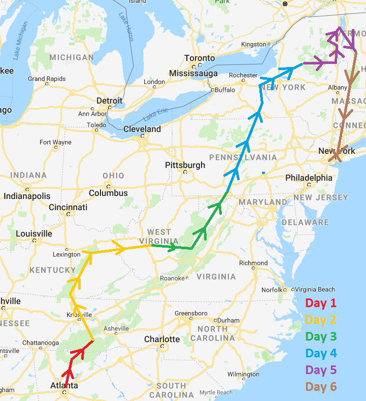 scenic road trip map
