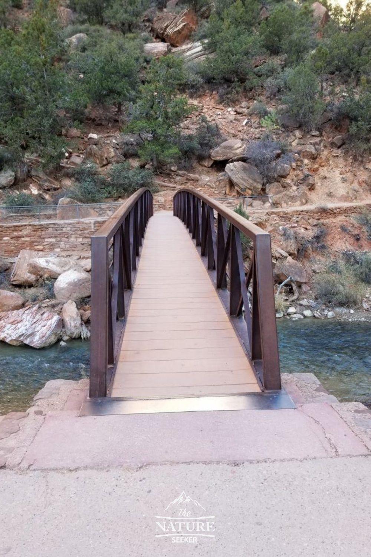 start of angels landing hike bridge crossing virgin river