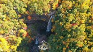 view of kaaterskill falls in the autumn