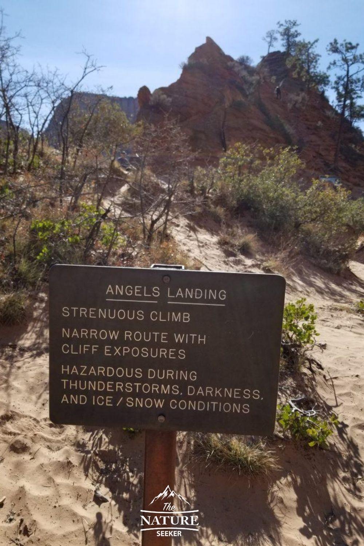warning sign on angels landing hike