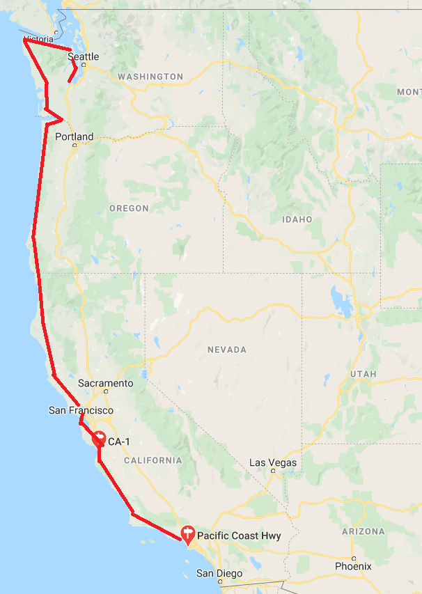 pacific coast highway road trip map