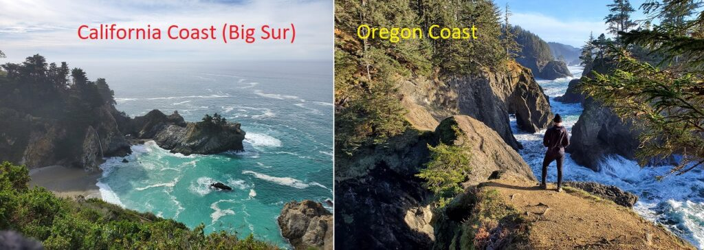 california coast vs oregon coast comparison