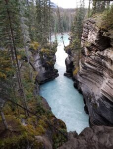 athabasca falls picture from underneath bridge