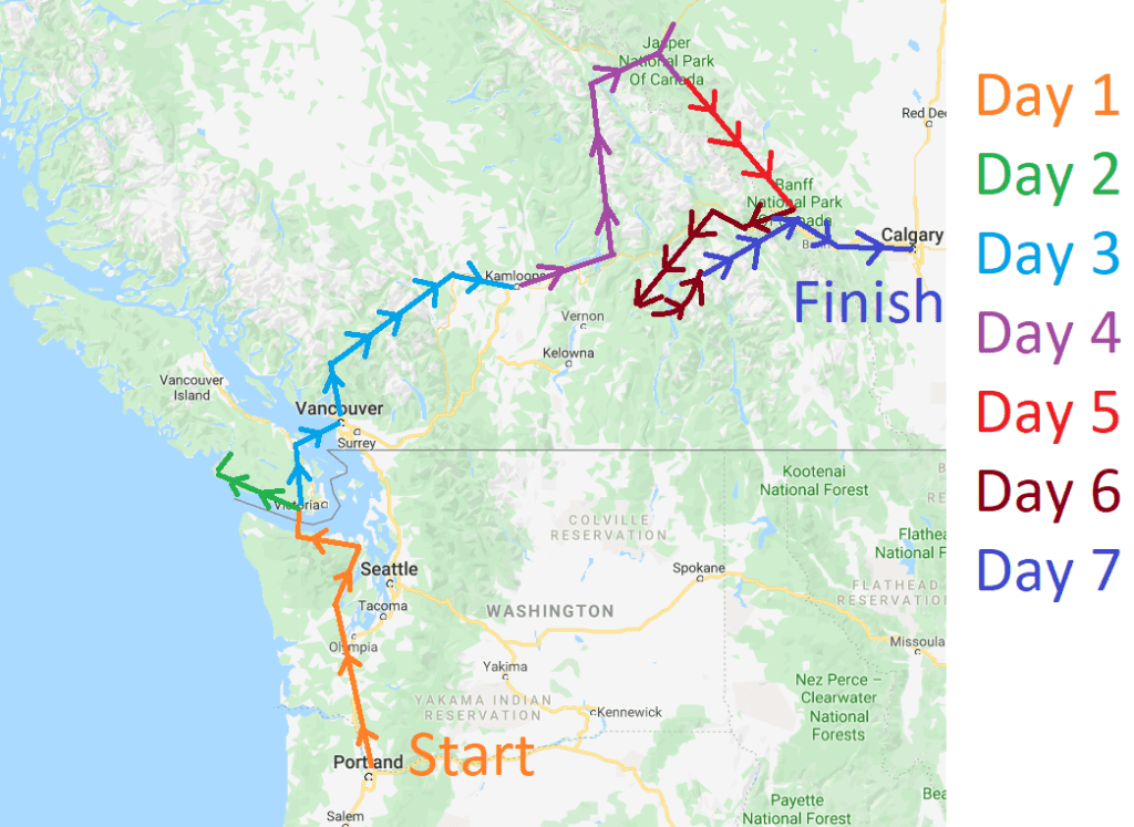 western canada road trip map