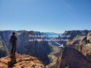 angel's landing view from observation point