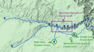 coyote gulch trail map for one day hikes