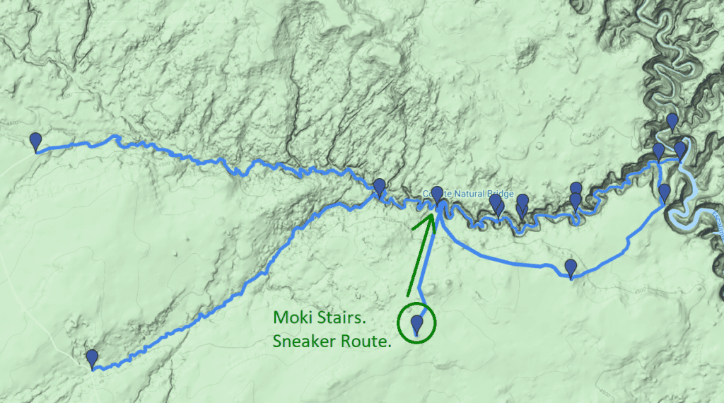 sneaker route and moki stairs to jacob hamlin arch and coyote gulch