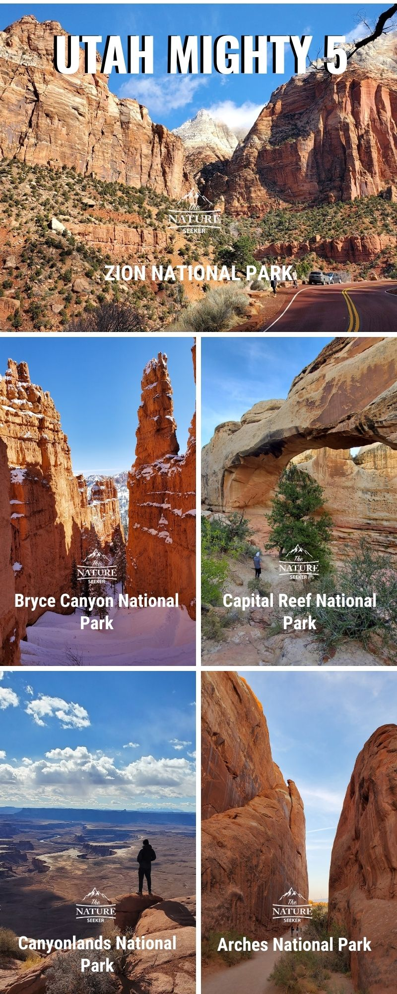 Utah mighty 5 national parks infographic