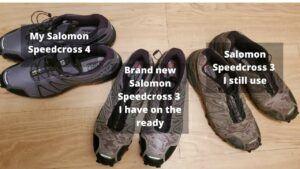 3 pairs of salomon speedcross sneakers