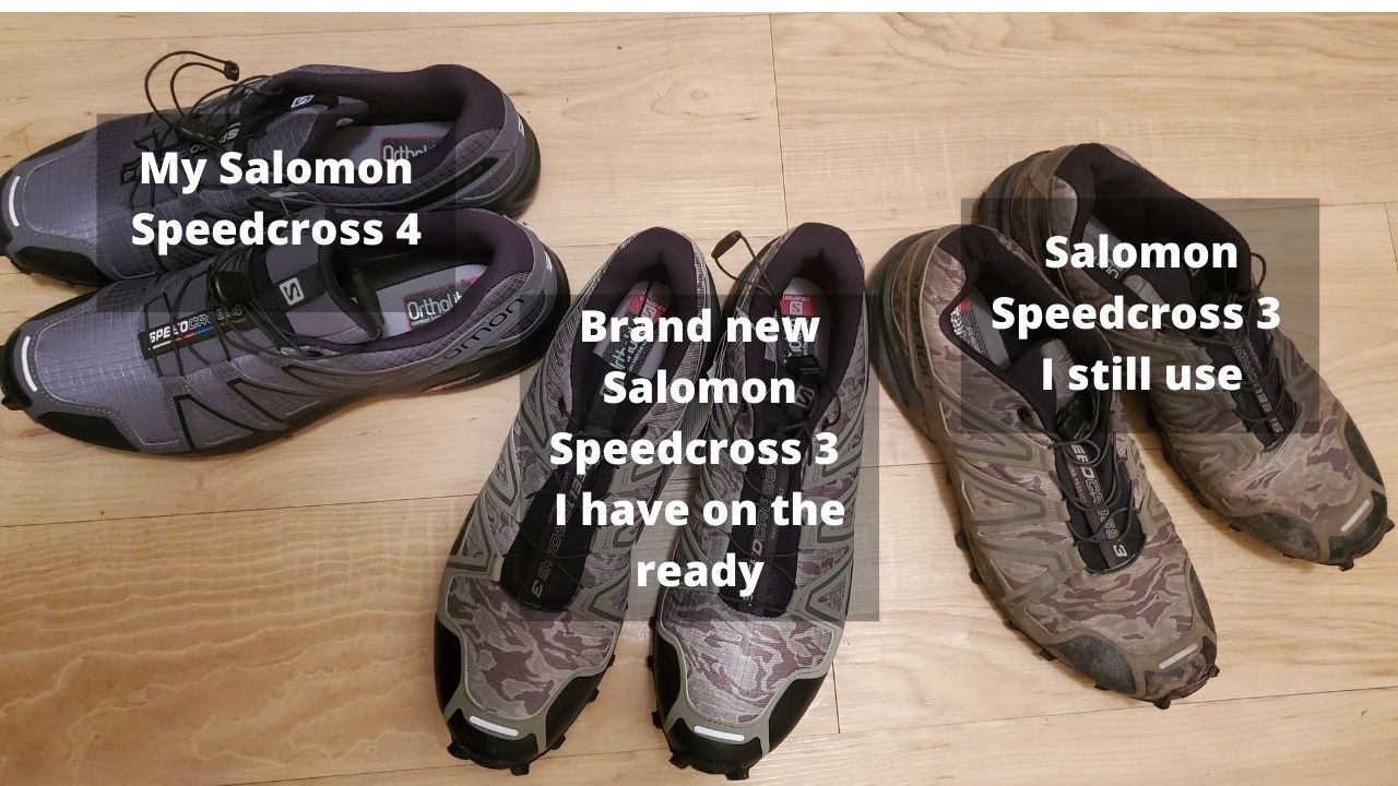 3 pairs of salomon speedcross sneakers