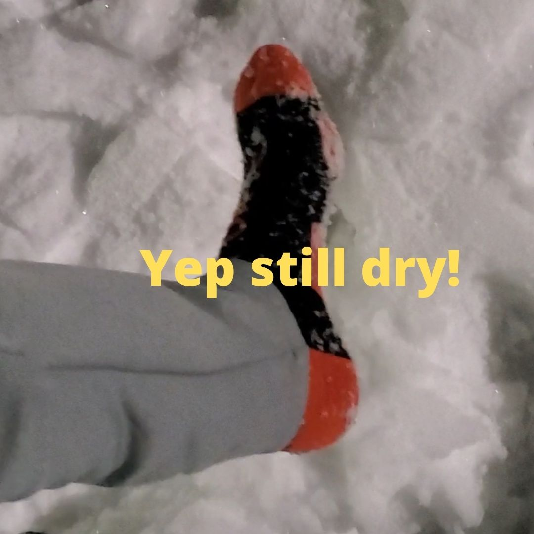 randy sun waterproof socks wet snow test