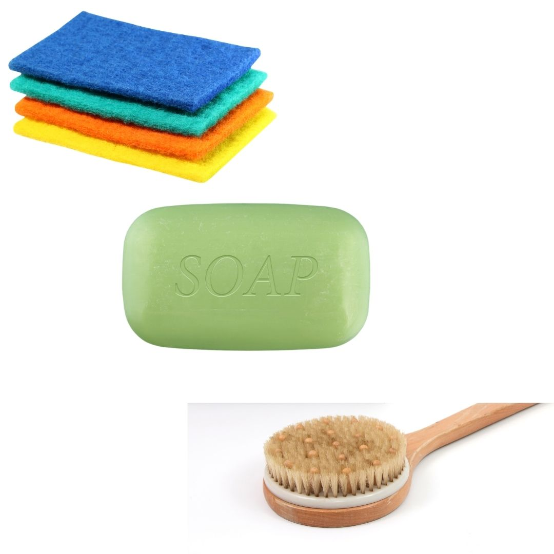 using a scrubber to wash a backpack