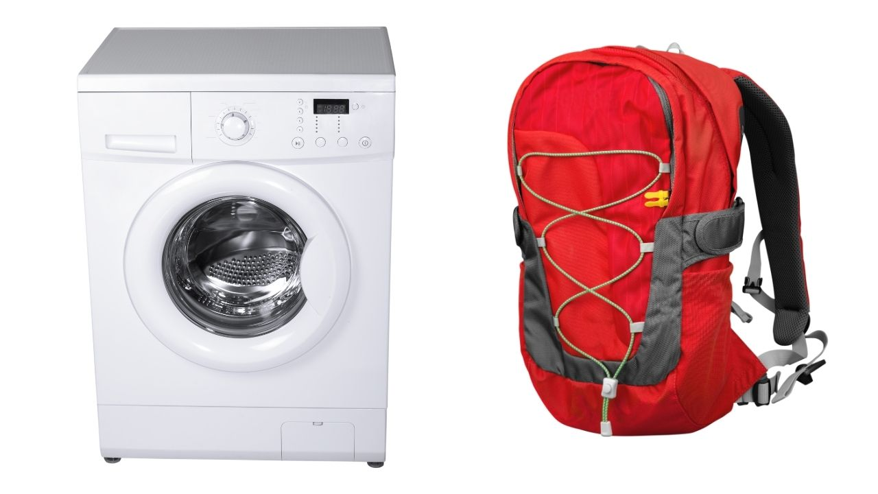 using a washer to clean a backpack