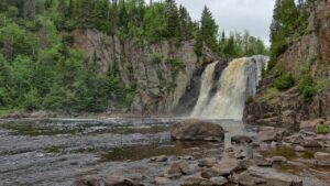 Tettegouche State Park and waterfall in minnesota