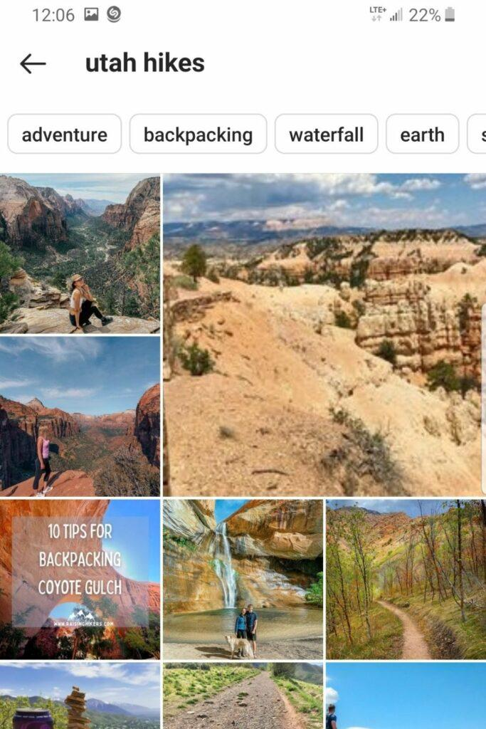 finding hikes near you through instagram