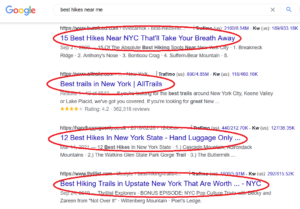 using google search to find hikes near me