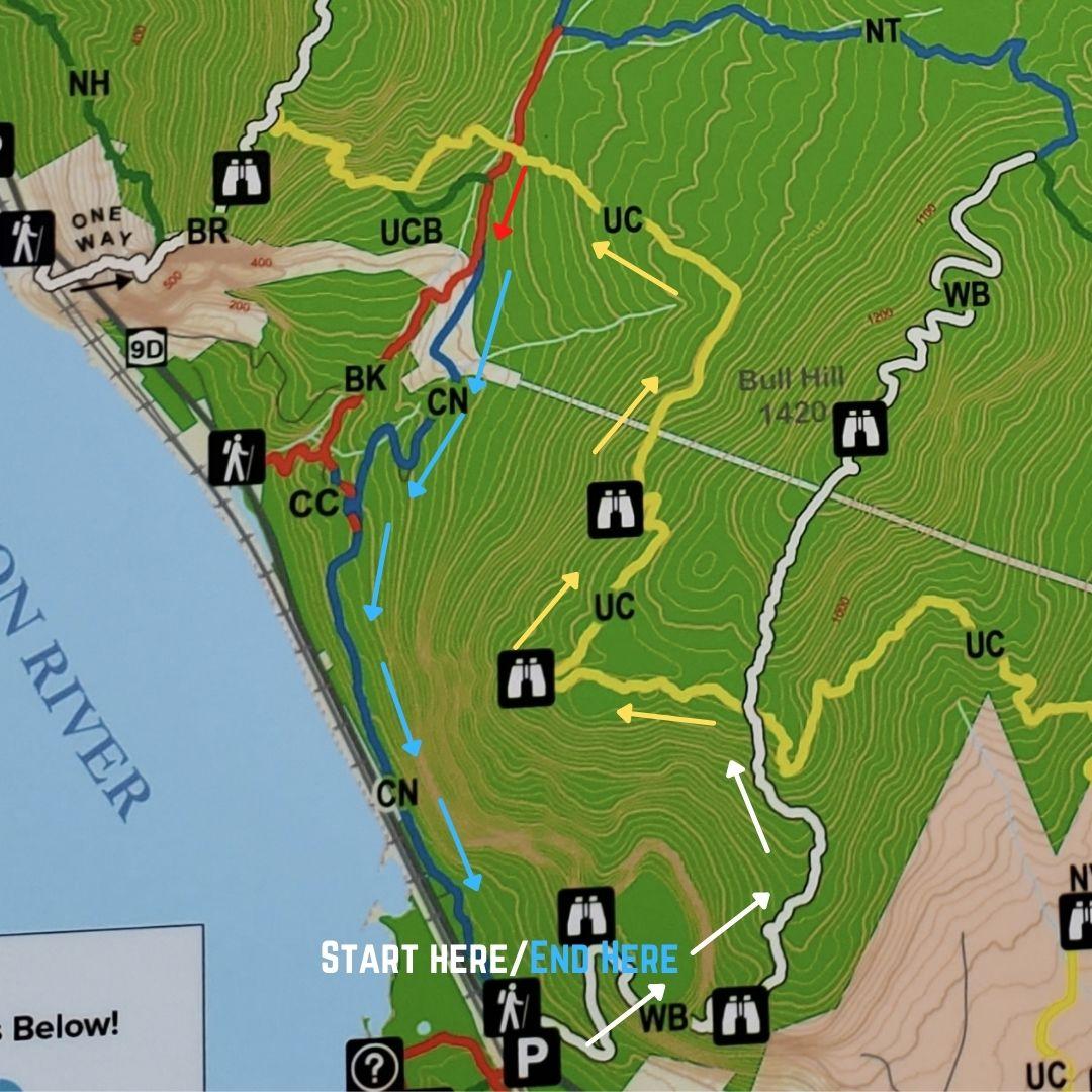 bull hill short loop trail map