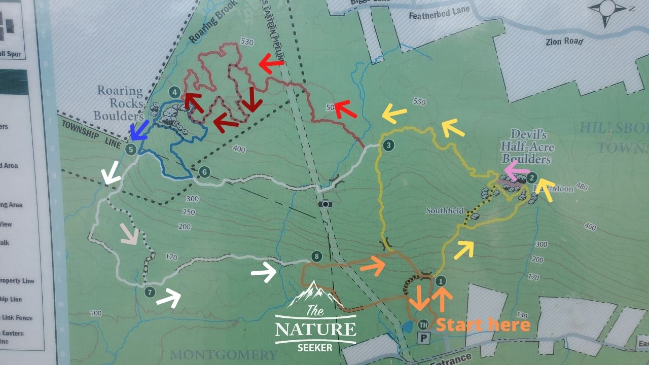 sourland mountain preserve map of trail
