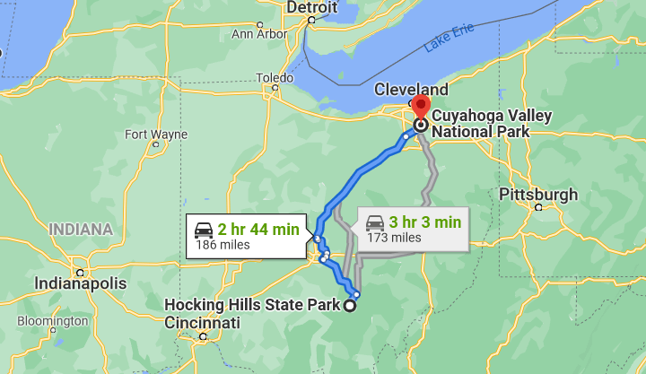 cuyahoga valley national park and hocking hills state park map